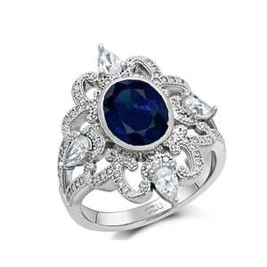 STERLING SILVER BONDED WITH PLATINUM LAB GROWN SAPPHIRE FASHION RING. - Zaitano