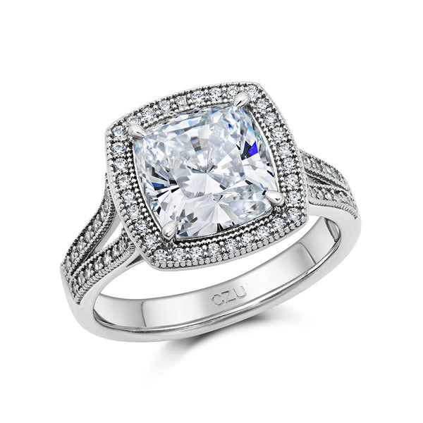 White center cushion cut halo ring. - Zaitano