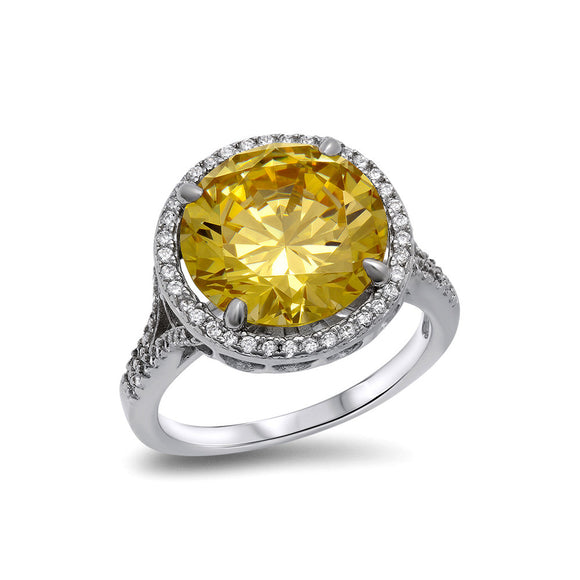 Canary yellow center halo ring - Zaitano - Zaitano