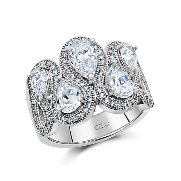 STERLING SILVER FASHION RING BONDED WITH PLATINUM AND SIMULATED DIAMONDS BY SWAROVSKI. - Zaitano