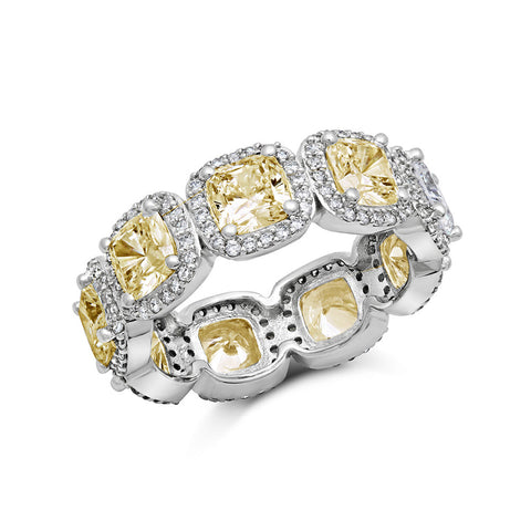 Sterling silver fashion ring bonded with platinum and simulated canary by swarovski. - Zaitano