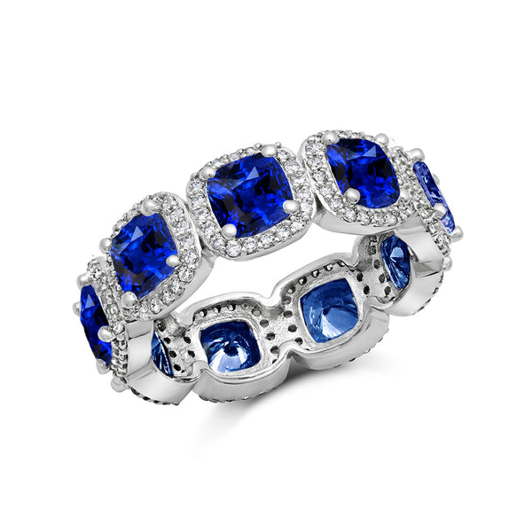 STERLING SILVER FASHION RING BONDED WITH PLATINUM AND SIMULATED SAPPHIRE BY SWAROVSKI. ZR-0273 - Zaitano