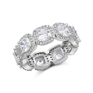 STERLING SILVER FASHION RING BONDED WITH PLATINUM AND SIMULATED DIAMONDS BY SWAROVSKI. ZR-0279 - Zaitano