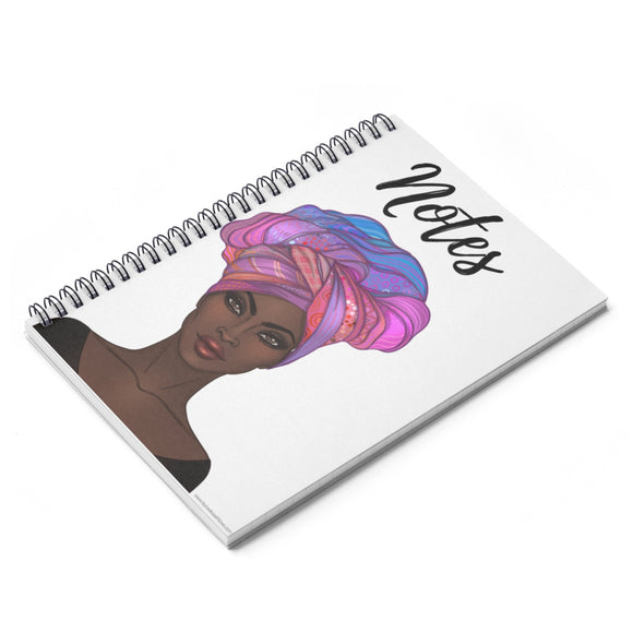 Purple Goddess in a Gele Spiral Notebook - College Ruled Line