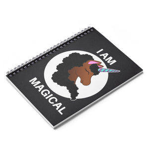 Magical Black Unicorn Spiral Ruled Line Notebook