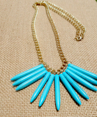 Handmade Jewelry - Gorgeous Turquoise Chain Necklace