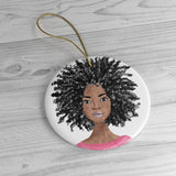 Fluffy Afro Ceramic Ornament