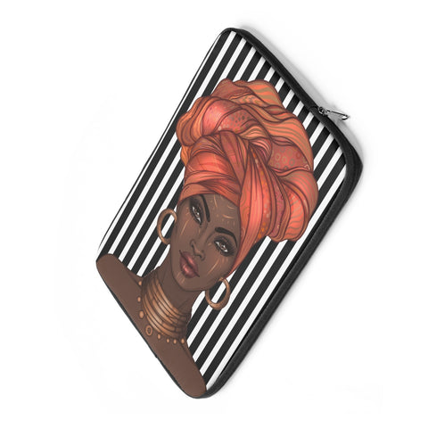 Striped Afro Goddess Laptop Sleeve