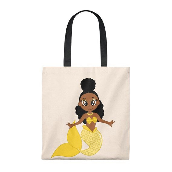 Black Mermaid Canvas Tote