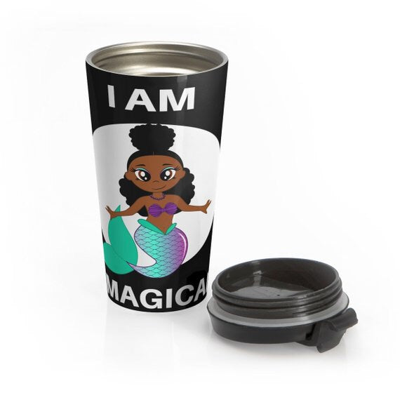 Black Mermaid - 15oz Travel Mug