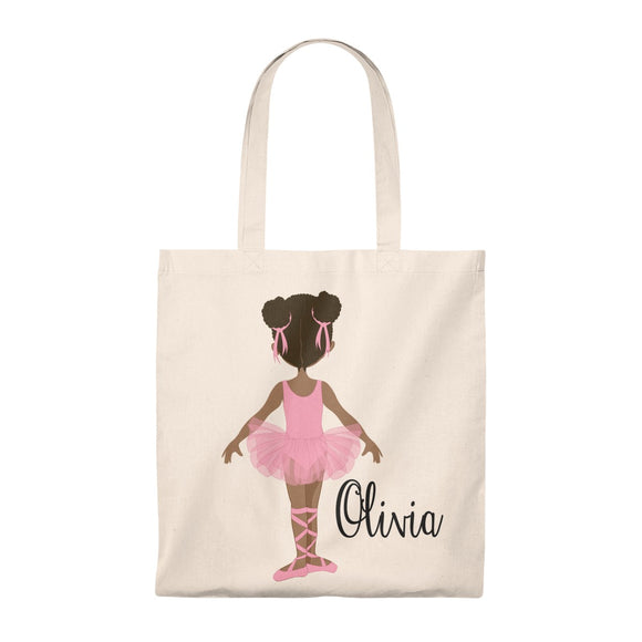 Maddie's Girls - Personalized Brown Ballerina Canvas Tote bag