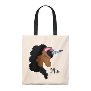 Black Unicorn  Personalized Canvas Tote