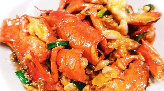 Fried lobster with Scallion, Ginger and Garlic