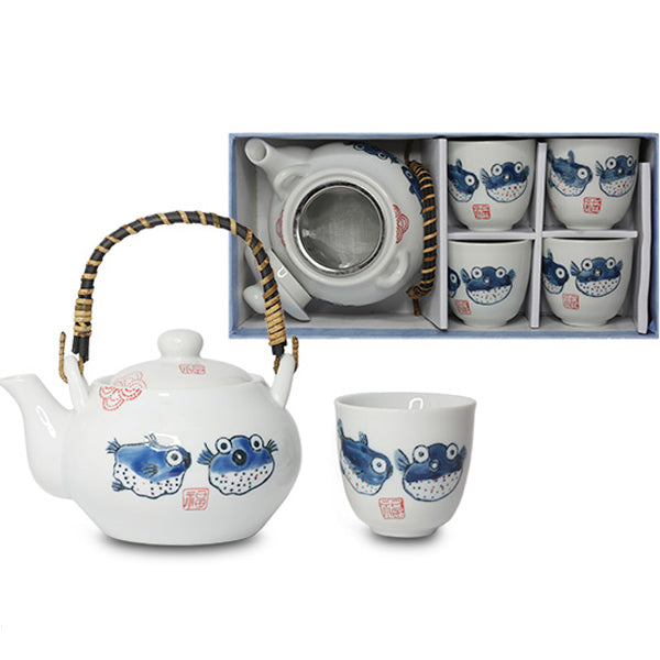 """Blowfish"" Tea Set with Strainer in Gift Box"