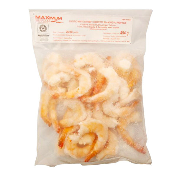 Maximum Pacific White Shrimp 26/30 Cooked Tail-On 454g