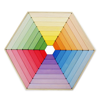 Rainbow Coloured Wooden Shape Puzzle