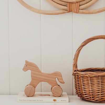 Wooden Push Along Horse - Abby
