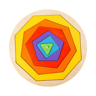 Wooden Geometric Shape Puzzle For Teaching Shapes and Colours