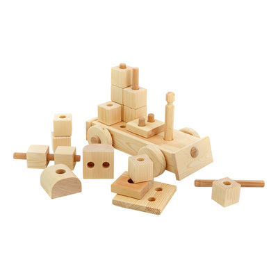 Large Natural Wooden Puzzle Train - Annie