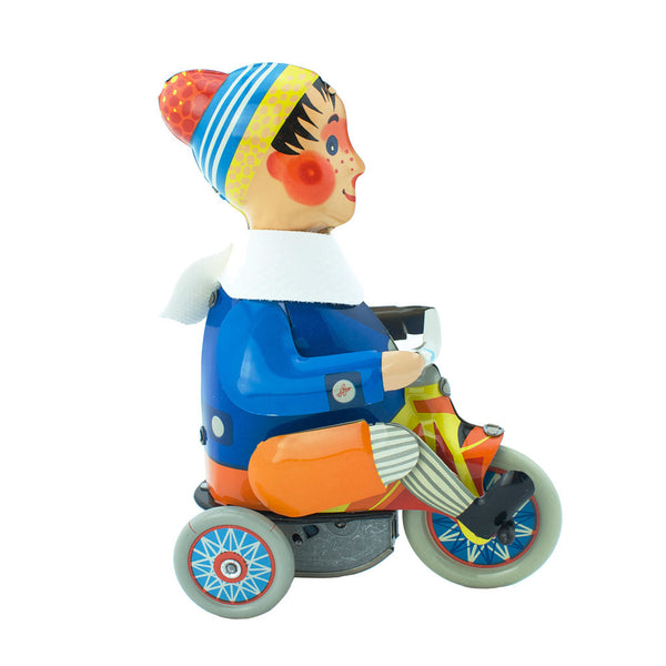 Wind up boy on tricycle toy - Happy Go Ducky