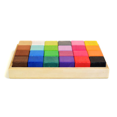 Wooden Coloured Building Block Set
