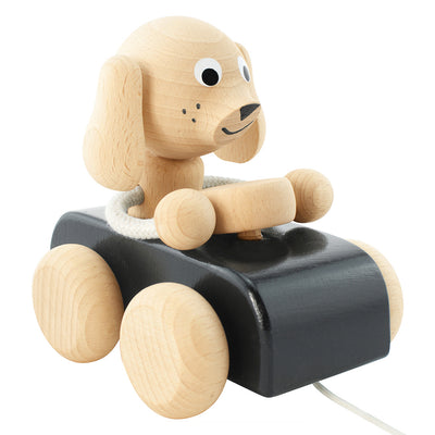 Wooden Pull Along Dog In Car - Jude