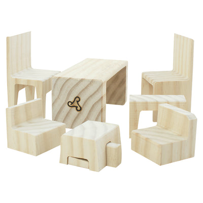 Doll House Furniture Puzzle Set - 9 Pieces (Yellow Pine)