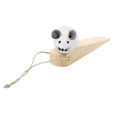 Wooden Door Stopper Mouse - White