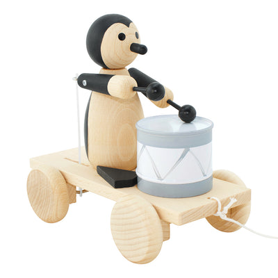 Wooden Pull Along Penguin With Drum - Piper