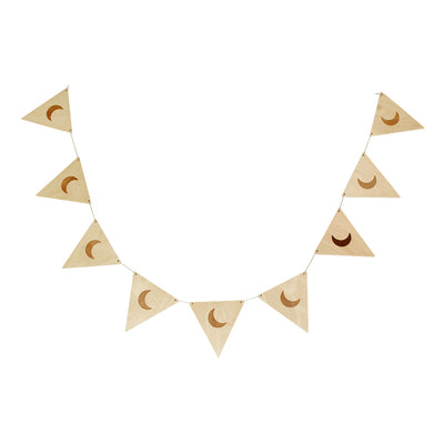 Wooden Bunting Flags - Crescent Moon