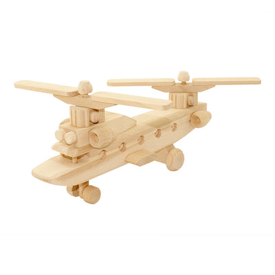 Wooden Helicopter Twin Rotors - Hunter