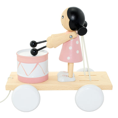 Wooden Pull Along Girl With Drum - Eve