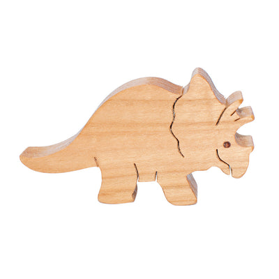 Wooden Triceratops Figure