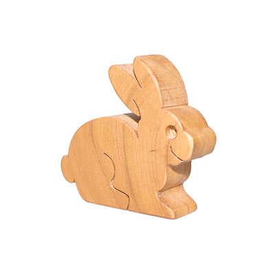 Wooden Rabbit Figure