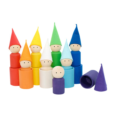 Wooden Peg Dolls With Cups - Rainbow
