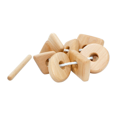 Wooden Lacing Toy With Geometric Shapes
