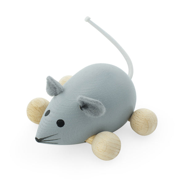 Wooden Push Along Mouse - Dusty