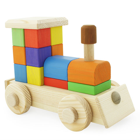 Building Block Toy Train - Happy Go Ducky