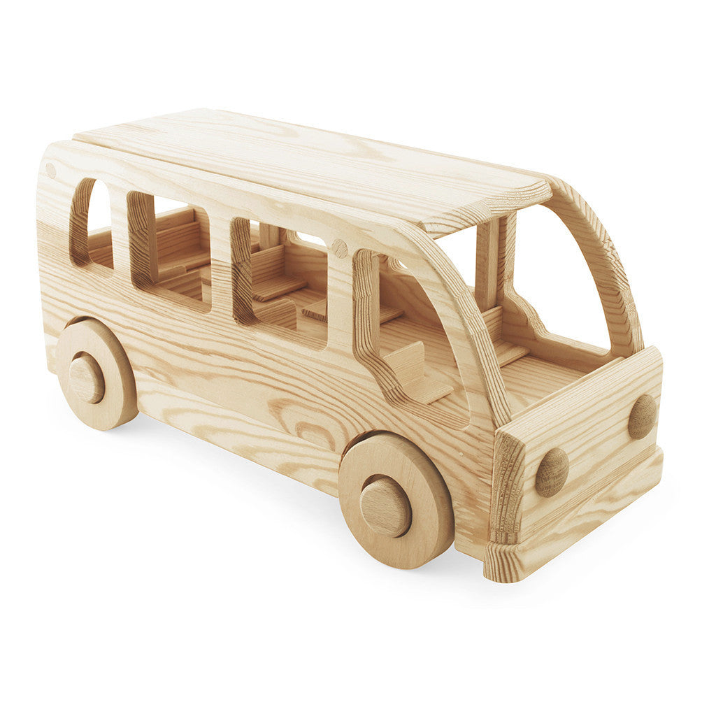 Large Wooden Toy Bus - Happy Go Ducky