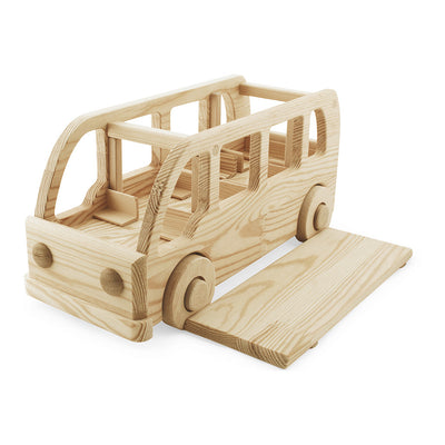 handmade large wooden toy school bus