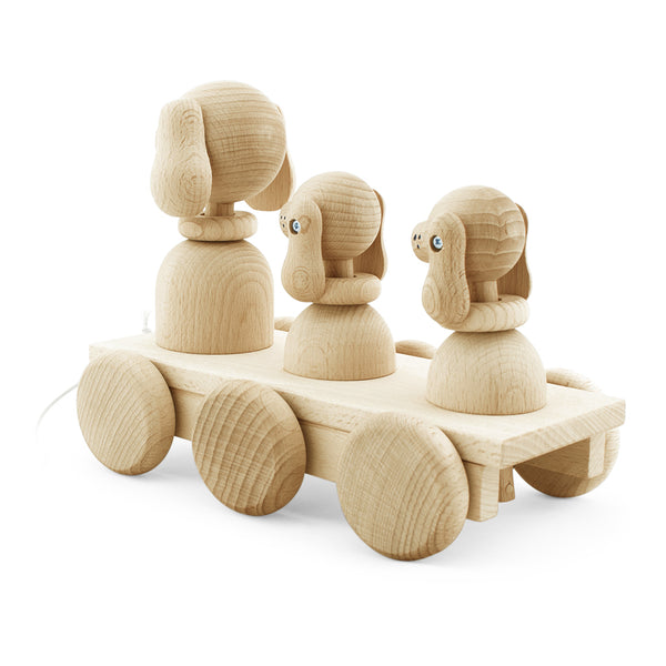 Wooden Toy Pull Along Dog Family