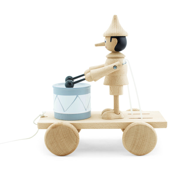 Wooden Pull Along Pinocchio With Drum - Natural