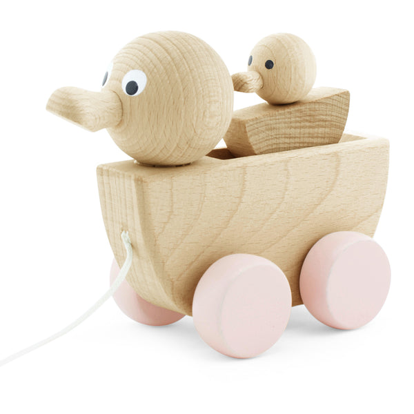 Wooden Pull Along Toy Duck With Duckling
