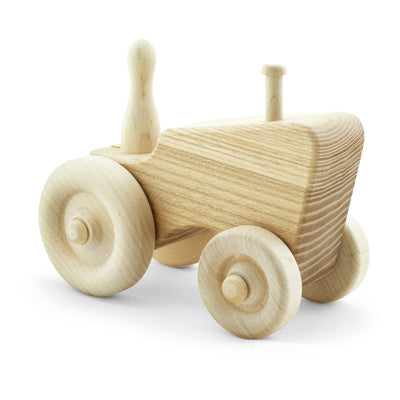 handcrafted wooden toy tractor