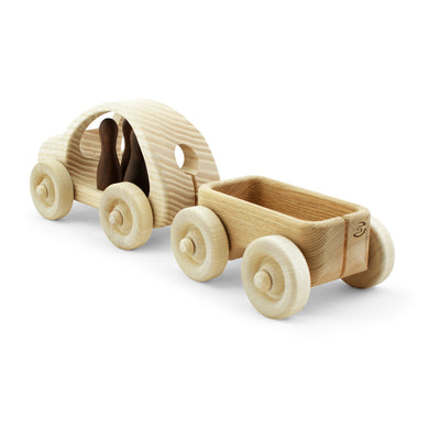 Wooden Car with 4 Passengers