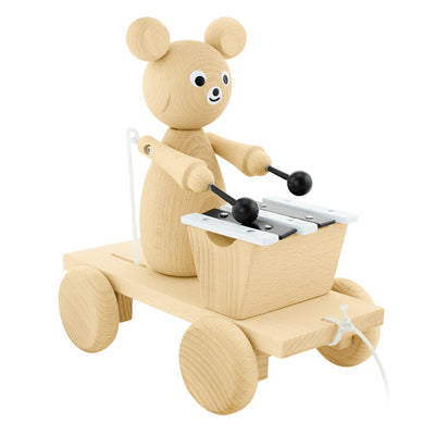 wooden pull along bear toy