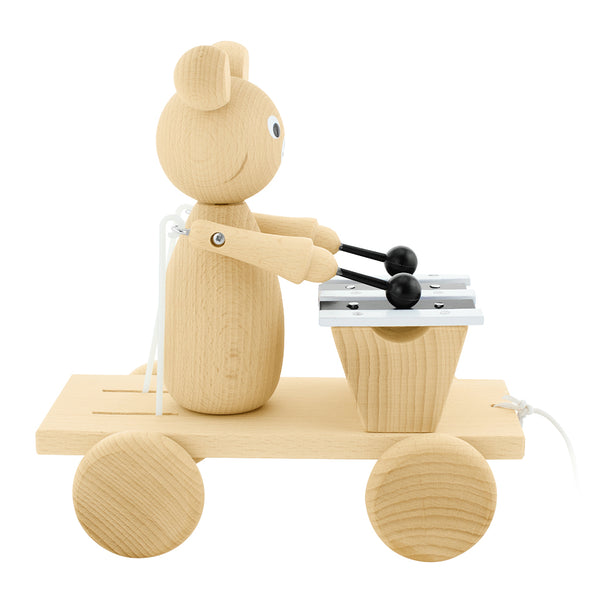 toy wooden pull along bear