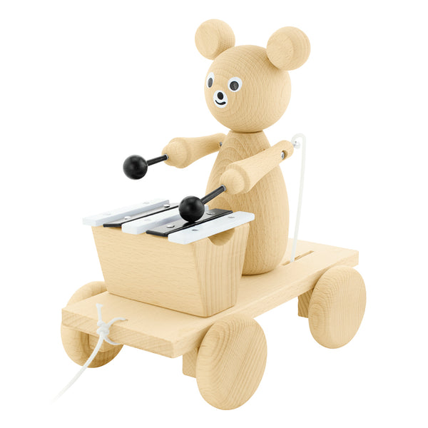 Wooden Pull Along Musical Bear | Happy Go Ducky
