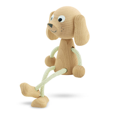 wooden sitting dog toy