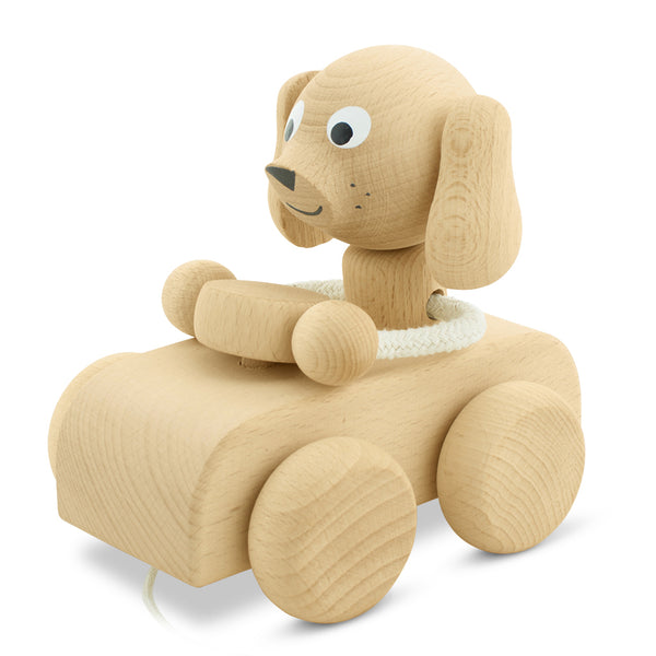 Wooden Pull Along Dog In Car - Cedric